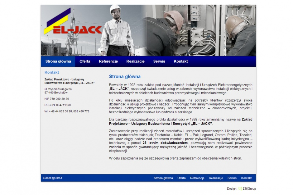 strona internetowa firmy ELJACK