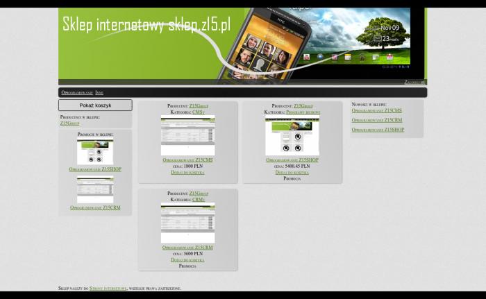 sklep internetowy Z15Shop, Aplikacja sklepu internetowego - Bełchatów
